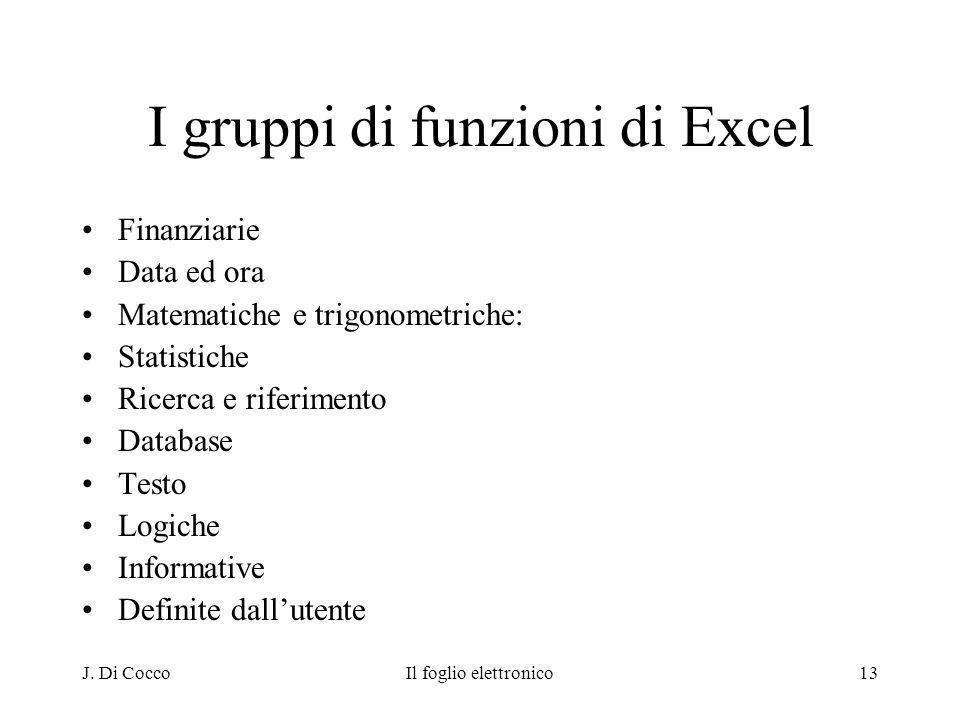 J. Di CoccoIl foglio elettronico13 I gruppi di funzioni di Excel Finanziarie Data ed ora Matematiche e trigonometriche: Statistiche Ricerca e riferime