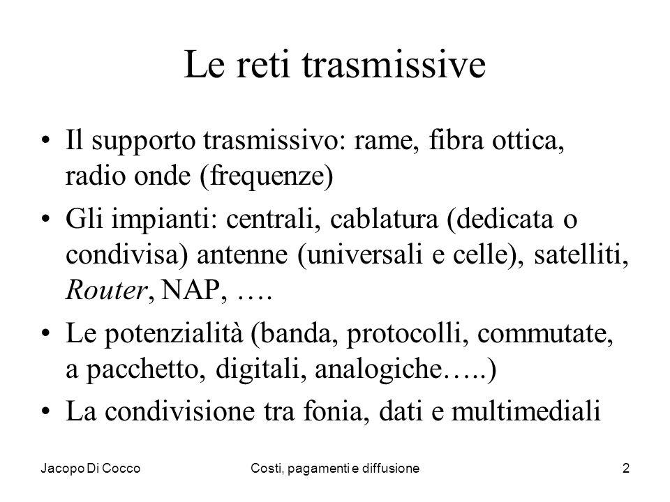 Jacopo Di CoccoCosti, pagamenti e diffusione2 Le reti trasmissive Il supporto trasmissivo: rame, fibra ottica, radio onde (frequenze) Gli impianti: ce