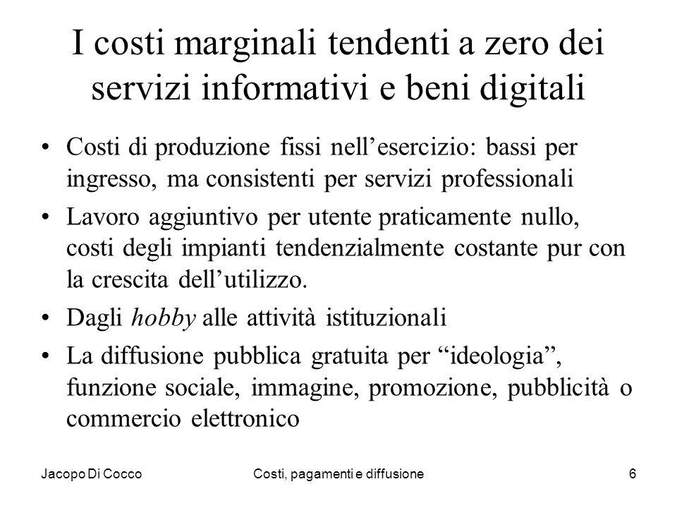 Jacopo Di CoccoCosti, pagamenti e diffusione6 I costi marginali tendenti a zero dei servizi informativi e beni digitali Costi di produzione fissi nell