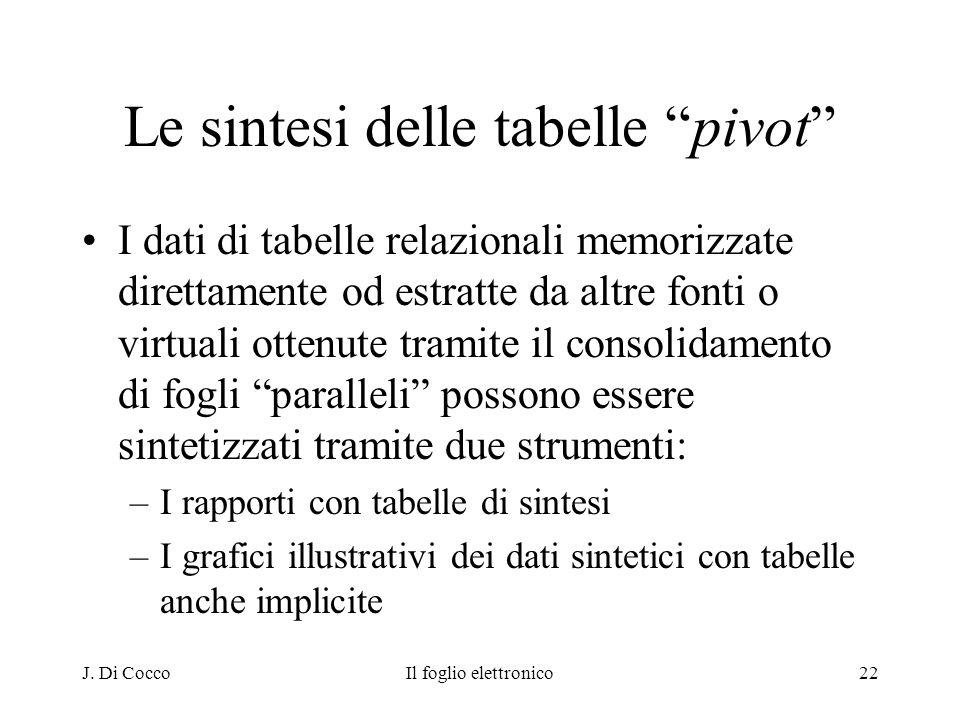 J. Di CoccoIl foglio elettronico22 Le sintesi delle tabelle pivot I dati di tabelle relazionali memorizzate direttamente od estratte da altre fonti o