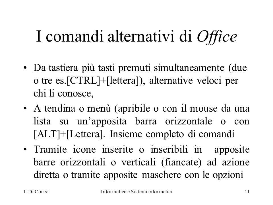 J. Di CoccoInformatica e Sistemi informatici11 I comandi alternativi di Office Da tastiera più tasti premuti simultaneamente (due o tre es.[CTRL]+[let