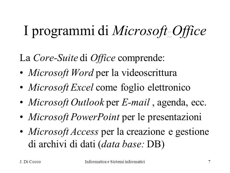 J. Di CoccoInformatica e Sistemi informatici7 I programmi di Microsoft-Office- La Core-Suite di Office comprende: Microsoft Word per la videoscrittura
