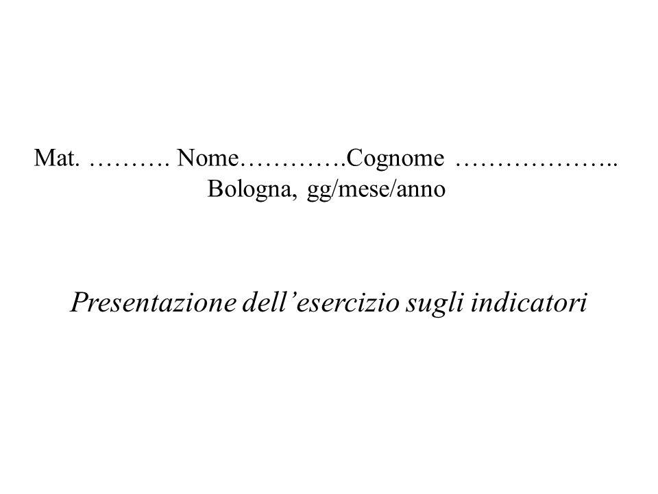 Mat. ………. Nome………….Cognome ……………….. Bologna, gg/mese/anno Presentazione dellesercizio sugli indicatori