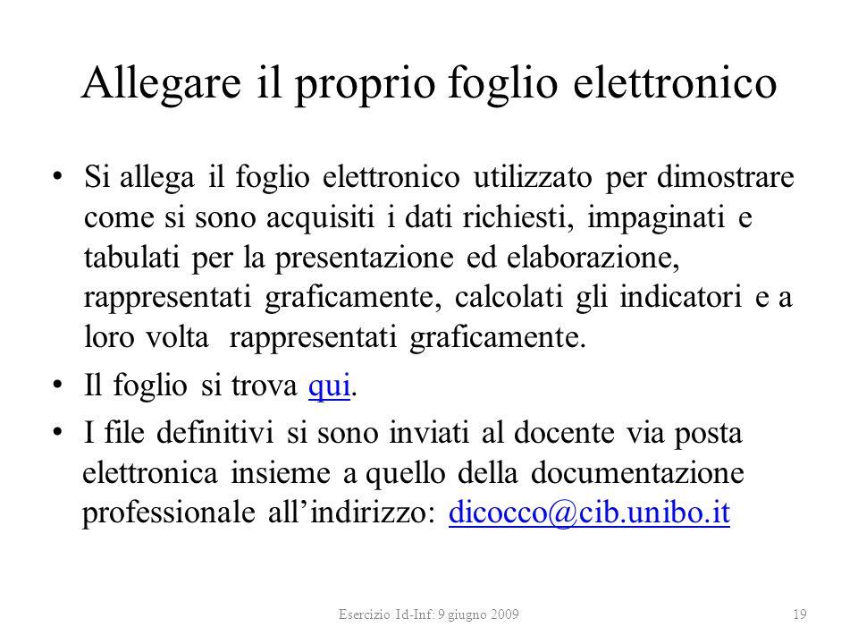 Allegare il proprio foglio elettronico Si allega il foglio elettronico utilizzato per dimostrare come si sono acquisiti i dati richiesti, impaginati e