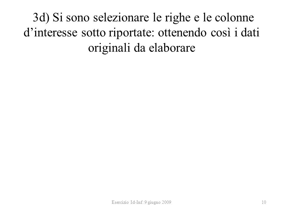 3d) Si sono selezionare le righe e le colonne dinteresse sotto riportate: ottenendo così i dati originali da elaborare Esercizio Id-Inf: 9 giugno 200910