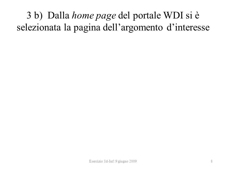3 b) Dalla home page del portale WDI si è selezionata la pagina dellargomento dinteresse Esercizio Id-Inf: 9 giugno 20098