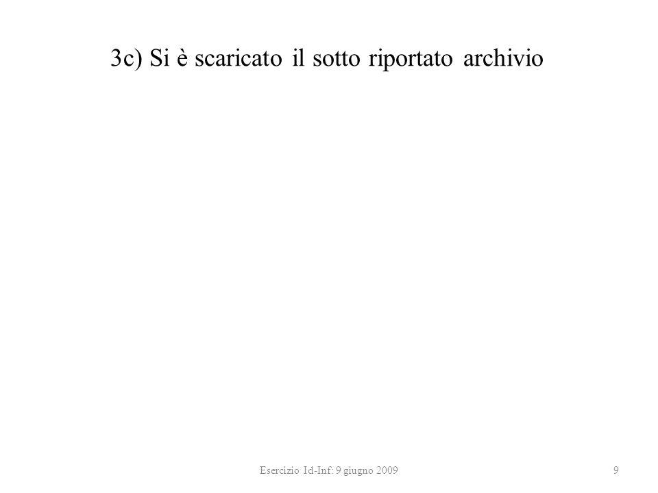 3c) Si è scaricato il sotto riportato archivio Esercizio Id-Inf: 9 giugno 20099