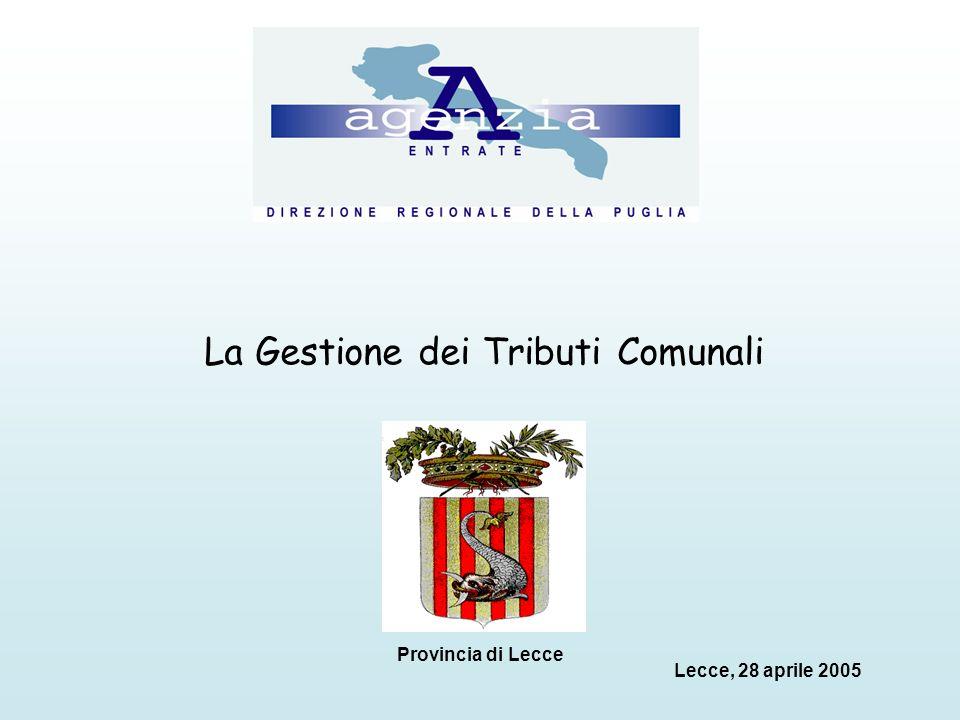 La Gestione dei Tributi Comunali Lecce, 28 aprile 2005 Provincia di Lecce