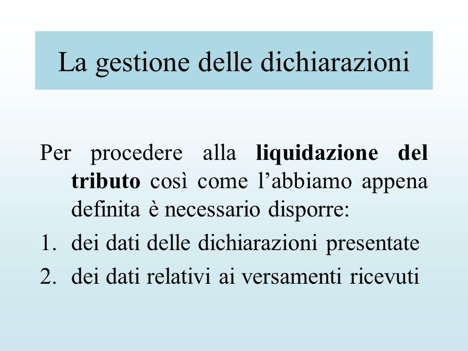 La gestione delle dichiarazioni Per procedere alla liquidazione del tributo così come labbiamo appena definita è necessario disporre: 1.dei dati delle