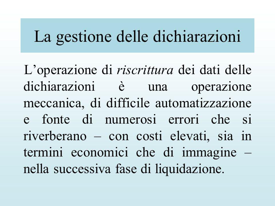 La gestione delle dichiarazioni Loperazione di riscrittura dei dati delle dichiarazioni è una operazione meccanica, di difficile automatizzazione e fo