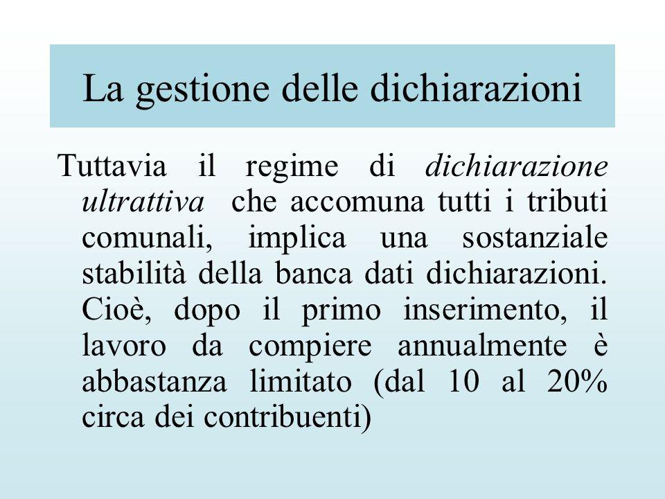 La gestione delle dichiarazioni Tuttavia il regime di dichiarazione ultrattiva che accomuna tutti i tributi comunali, implica una sostanziale stabilit
