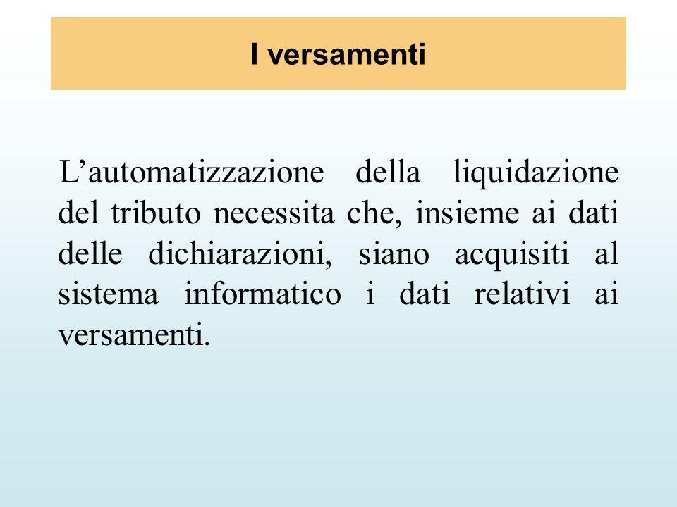 I versamenti Lautomatizzazione della liquidazione del tributo necessita che, insieme ai dati delle dichiarazioni, siano acquisiti al sistema informati