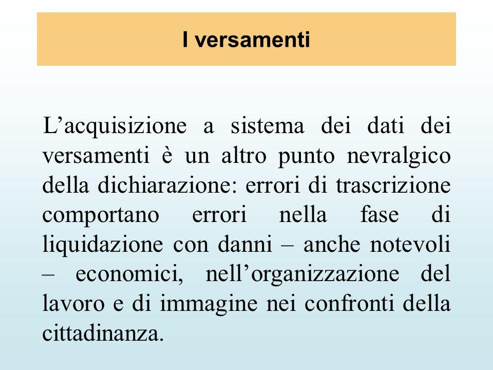 I versamenti Lacquisizione a sistema dei dati dei versamenti è un altro punto nevralgico della dichiarazione: errori di trascrizione comportano errori