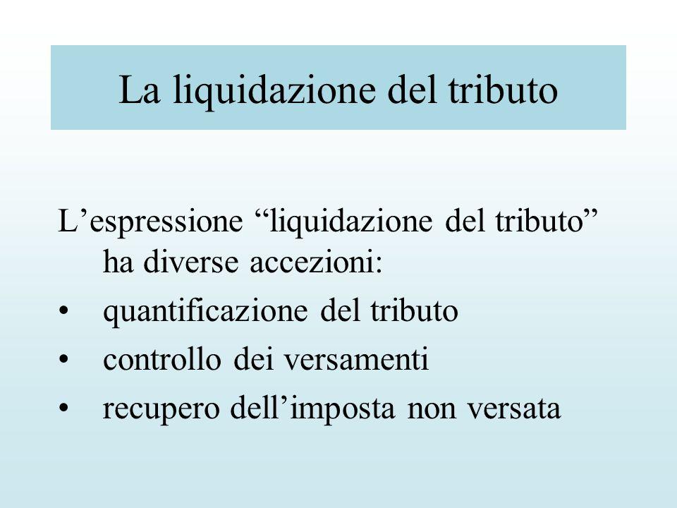 La liquidazione del tributo Lespressione liquidazione del tributo ha diverse accezioni: quantificazione del tributo controllo dei versamenti recupero
