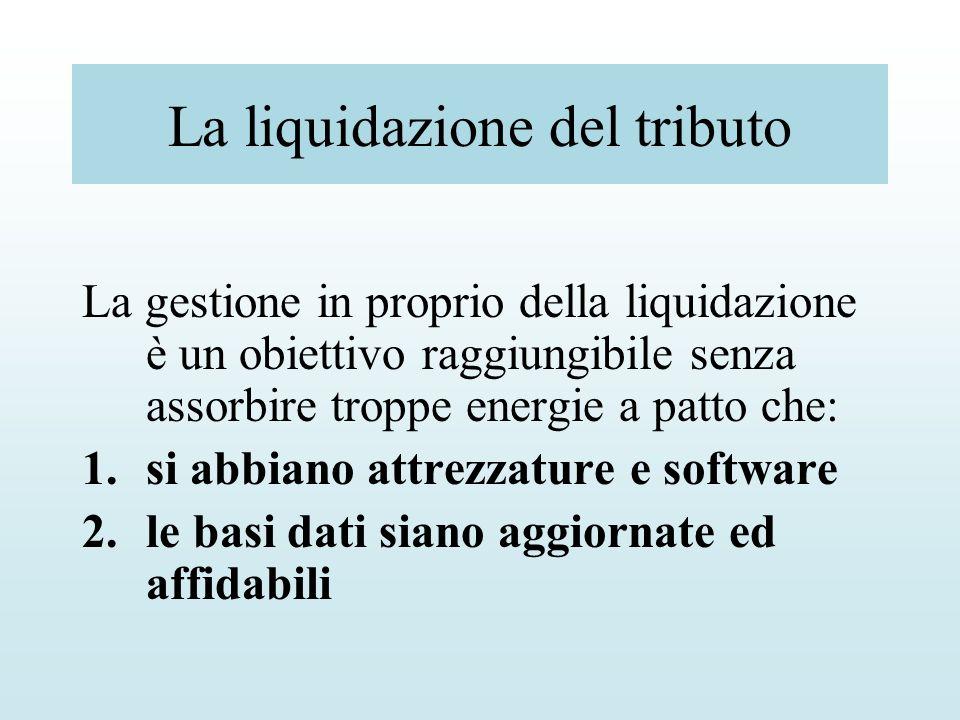 La liquidazione del tributo La gestione in proprio della liquidazione è un obiettivo raggiungibile senza assorbire troppe energie a patto che: 1.si ab