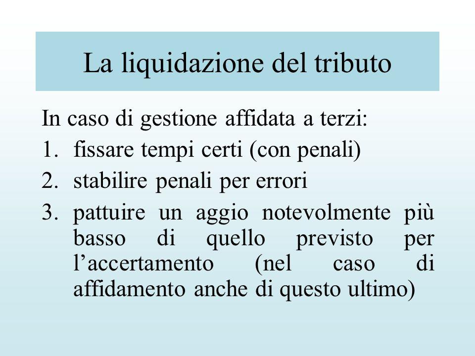 La liquidazione del tributo In caso di gestione affidata a terzi: 1.fissare tempi certi (con penali) 2.stabilire penali per errori 3.pattuire un aggio
