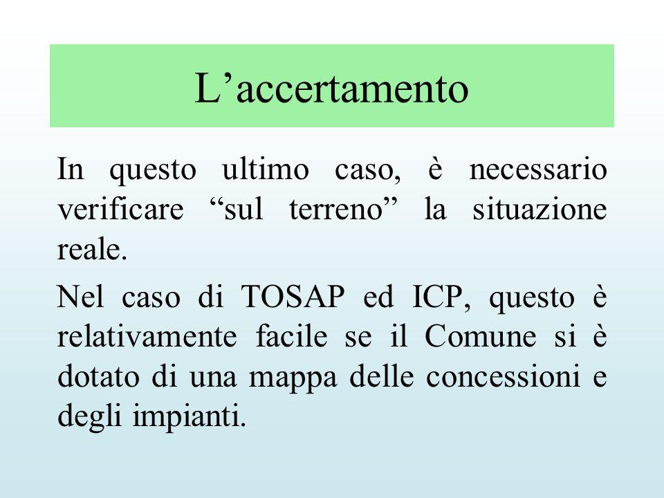 Laccertamento In questo ultimo caso, è necessario verificare sul terreno la situazione reale. Nel caso di TOSAP ed ICP, questo è relativamente facile