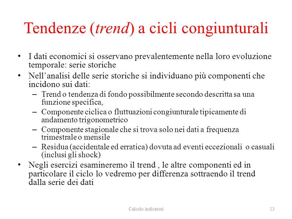 Tendenze (trend) a cicli congiunturali I dati economici si osservano prevalentemente nella loro evoluzione temporale: serie storiche Nellanalisi delle