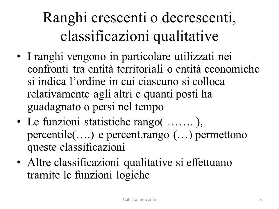 Ranghi crescenti o decrescenti, classificazioni qualitative I ranghi vengono in particolare utilizzati nei confronti tra entità territoriali o entità
