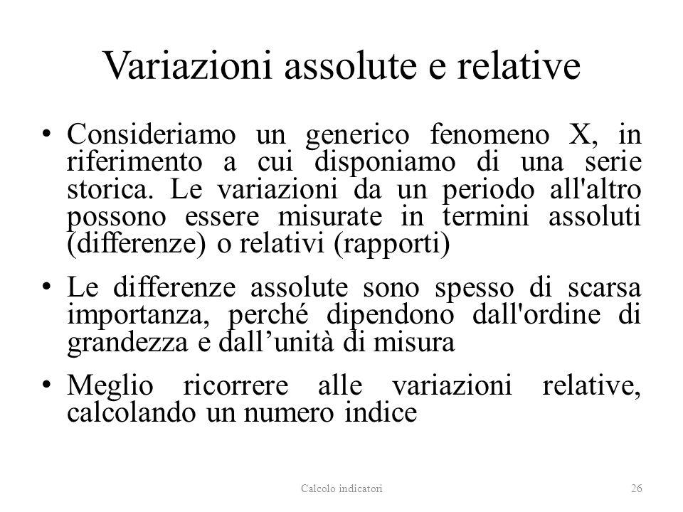 Variazioni assolute e relative Consideriamo un generico fenomeno X, in riferimento a cui disponiamo di una serie storica. Le variazioni da un periodo