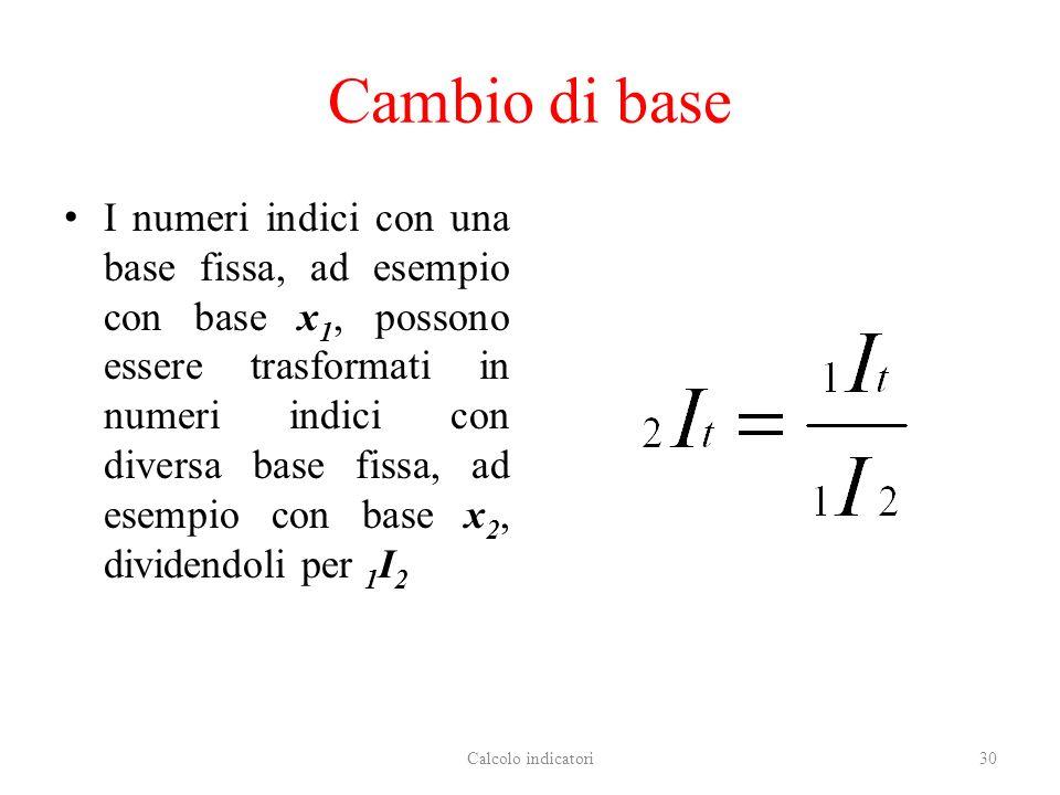 Cambio di base I numeri indici con una base fissa, ad esempio con base x 1, possono essere trasformati in numeri indici con diversa base fissa, ad esempio con base x 2, dividendoli per 1 I 2 Calcolo indicatori30