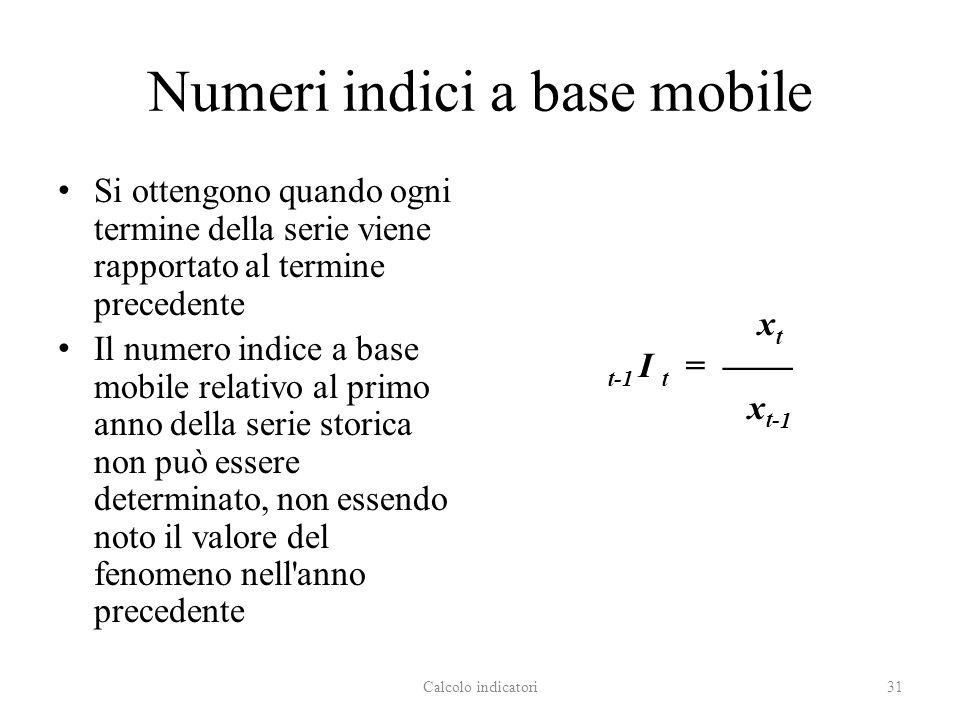 Numeri indici a base mobile Si ottengono quando ogni termine della serie viene rapportato al termine precedente Il numero indice a base mobile relativo al primo anno della serie storica non può essere determinato, non essendo noto il valore del fenomeno nell anno precedente x t t-1 I t = x t- 1 Calcolo indicatori31
