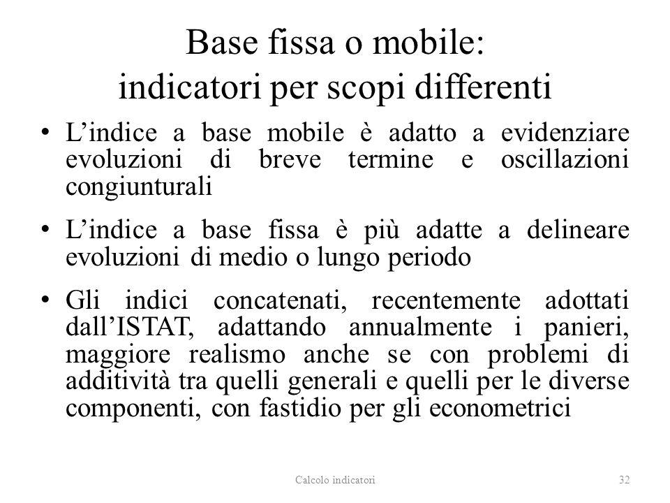 Base fissa o mobile: indicatori per scopi differenti Lindice a base mobile è adatto a evidenziare evoluzioni di breve termine e oscillazioni congiuntu