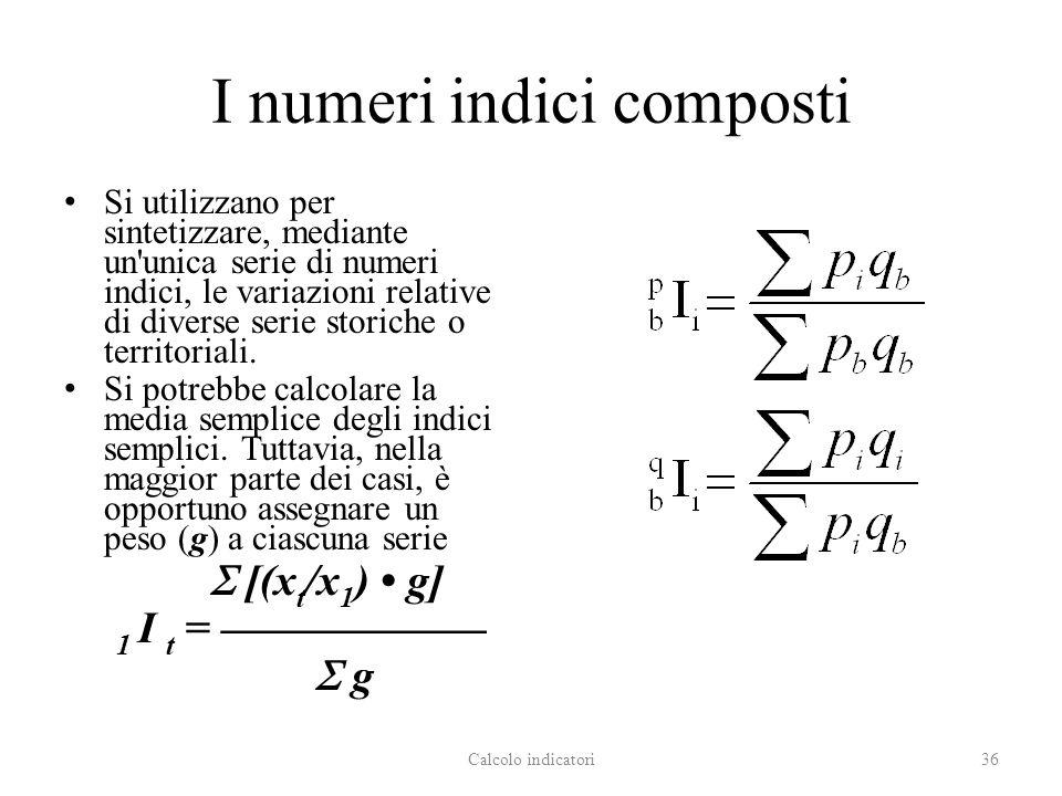 I numeri indici composti Si utilizzano per sintetizzare, mediante un unica serie di numeri indici, le variazioni relative di diverse serie storiche o territoriali.