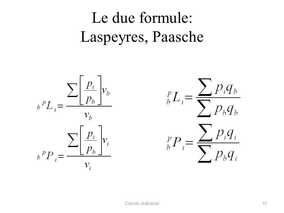 Le due formule: Laspeyres, Paasche Calcolo indicatori45