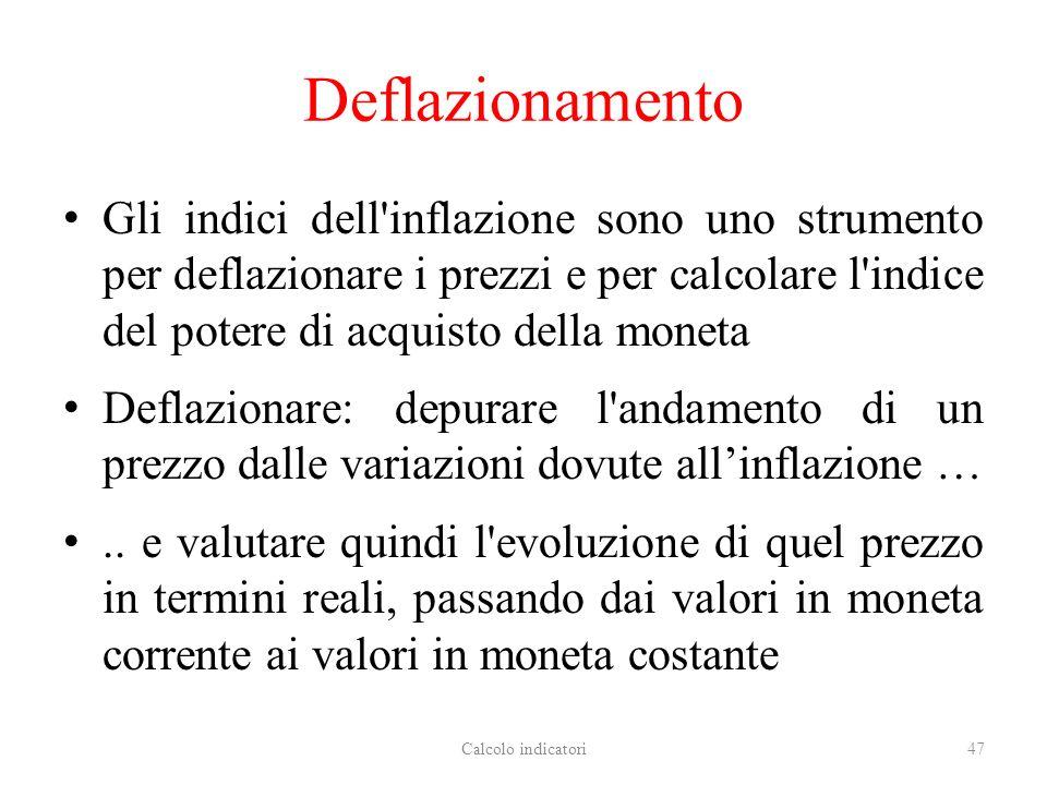 Deflazionamento Gli indici dell inflazione sono uno strumento per deflazionare i prezzi e per calcolare l indice del potere di acquisto della moneta Deflazionare: depurare l andamento di un prezzo dalle variazioni dovute allinflazione …..