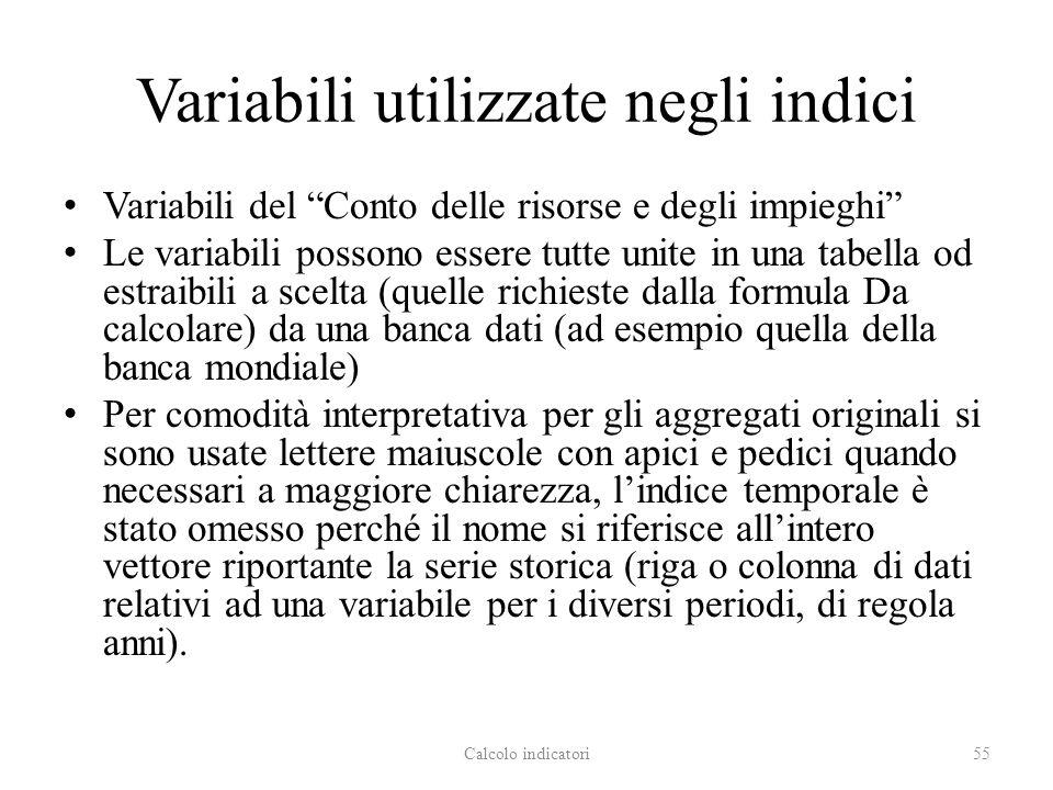 Variabili utilizzate negli indici Variabili del Conto delle risorse e degli impieghi Le variabili possono essere tutte unite in una tabella od estraib