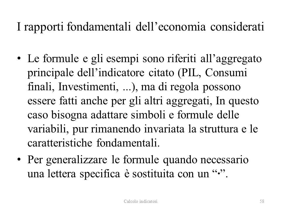 I rapporti fondamentali delleconomia considerati Le formule e gli esempi sono riferiti allaggregato principale dellindicatore citato (PIL, Consumi fin