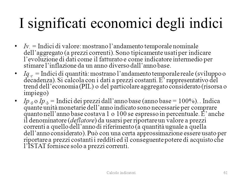 I significati economici degli indici Iv · = Indici di valore: mostrano landamento temporale nominale dellaggregato (a prezzi correnti). Sono tipicamen