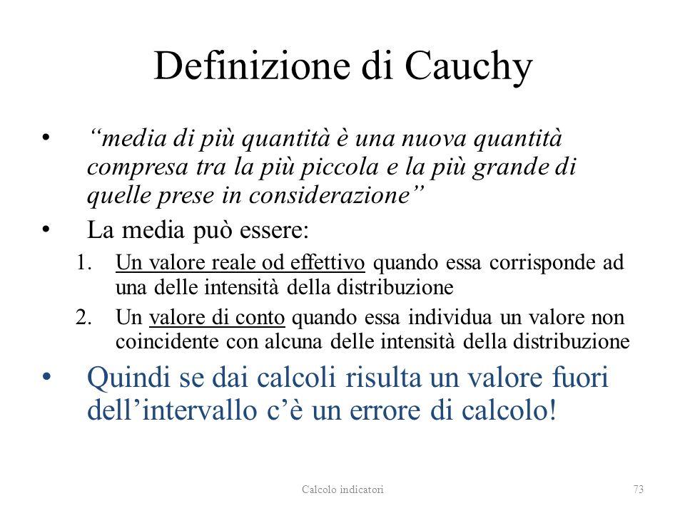 Definizione di Cauchy media di più quantità è una nuova quantità compresa tra la più piccola e la più grande di quelle prese in considerazione La media può essere: 1.Un valore reale od effettivo quando essa corrisponde ad una delle intensità della distribuzione 2.Un valore di conto quando essa individua un valore non coincidente con alcuna delle intensità della distribuzione Quindi se dai calcoli risulta un valore fuori dellintervallo cè un errore di calcolo.