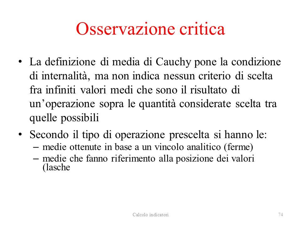 Osservazione critica La definizione di media di Cauchy pone la condizione di internalità, ma non indica nessun criterio di scelta fra infiniti valori
