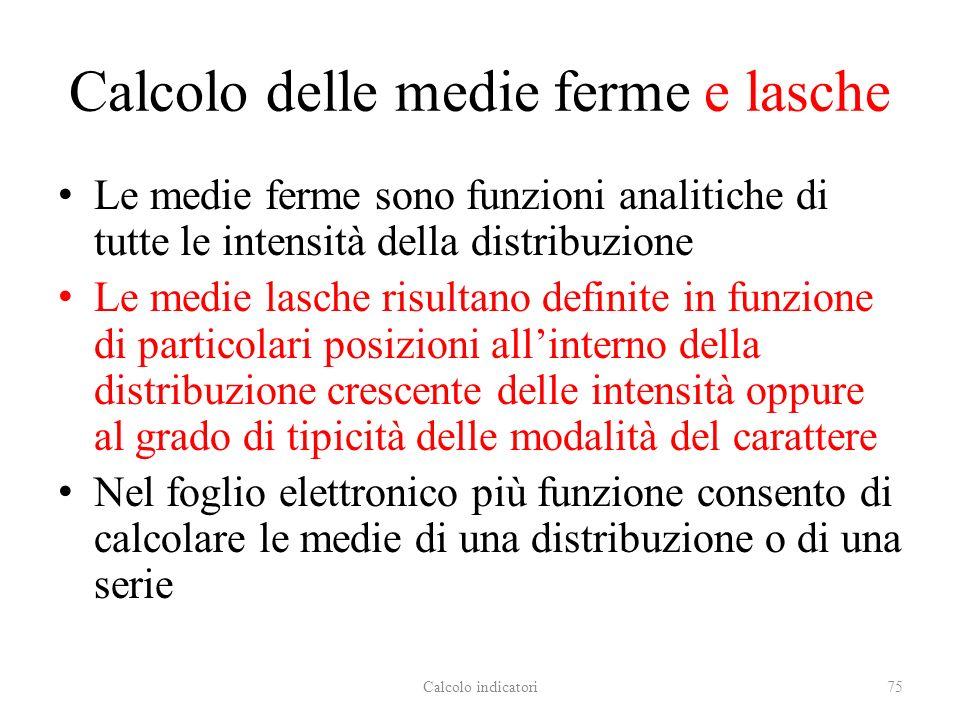 Calcolo delle medie ferme e lasche Le medie ferme sono funzioni analitiche di tutte le intensità della distribuzione Le medie lasche risultano definit
