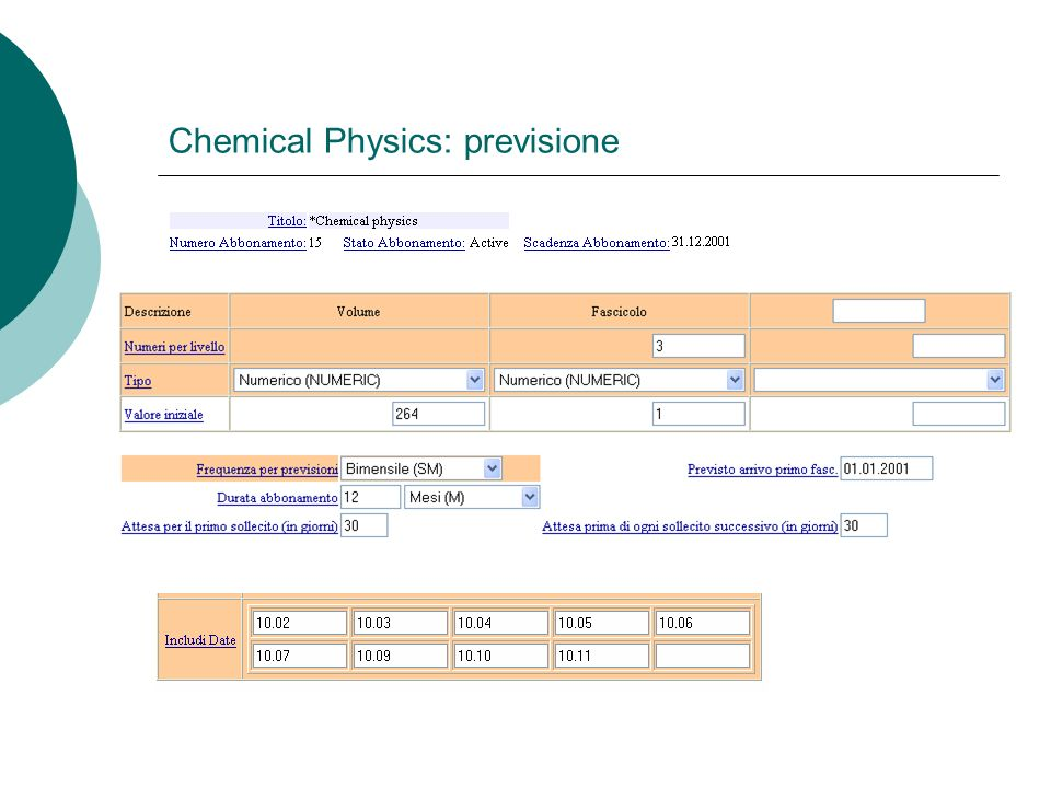 Chemical Physics: previsione