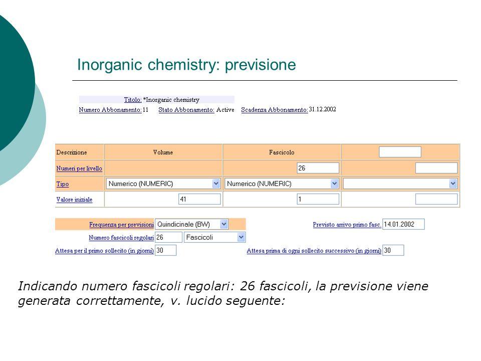 Inorganic chemistry: previsione Indicando numero fascicoli regolari: 26 fascicoli, la previsione viene generata correttamente, v.