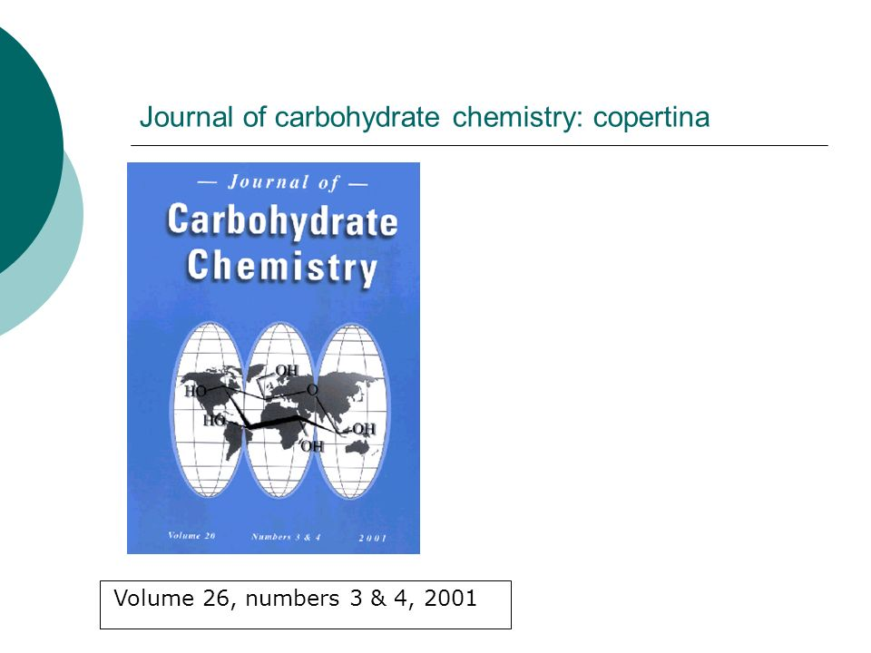 Journal of carbohydrate chemistry: copertina Volume 26, numbers 3 & 4, 2001