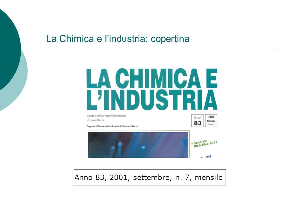 La Chimica e lindustria: copertina Anno 83, 2001, settembre, n. 7, mensile