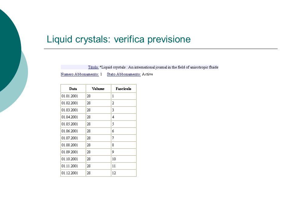Liquid crystals: verifica previsione