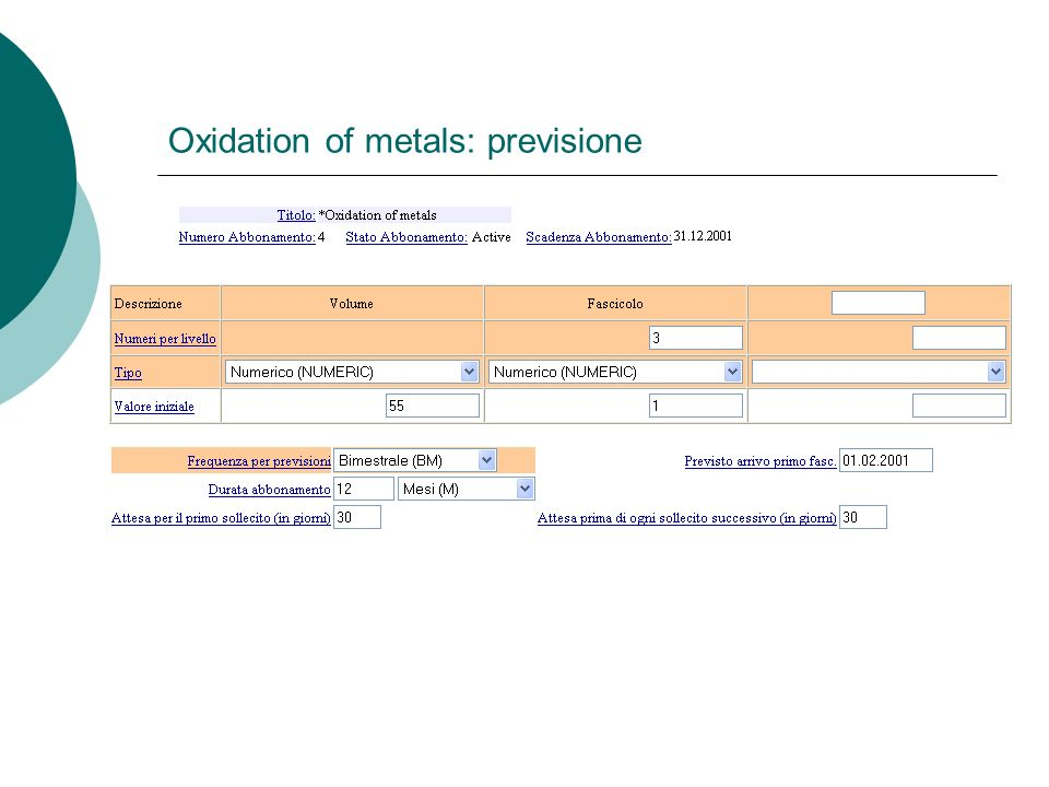 Oxidation of metals: previsione