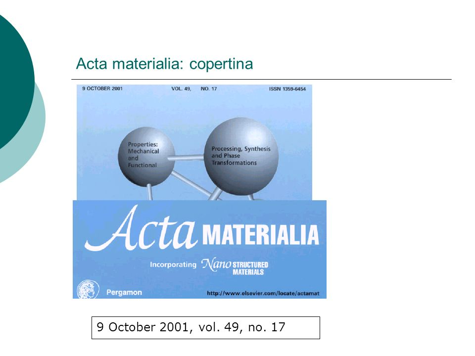 Acta Materialia: dalle pagine preliminari Acta Materialia (ISSN 1359-6465) is published 20 issues per annum, monthly with additional issues in January, February, April, May, June, August, September and October by Elsevier Science Ltd., Vol.