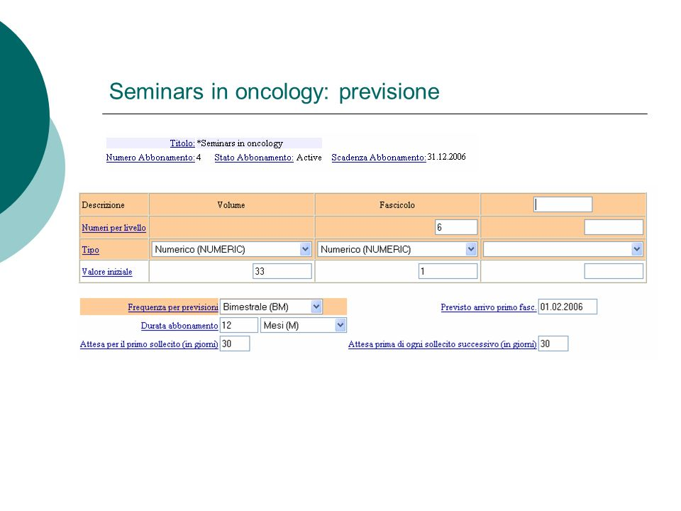 Seminars in oncology: previsione