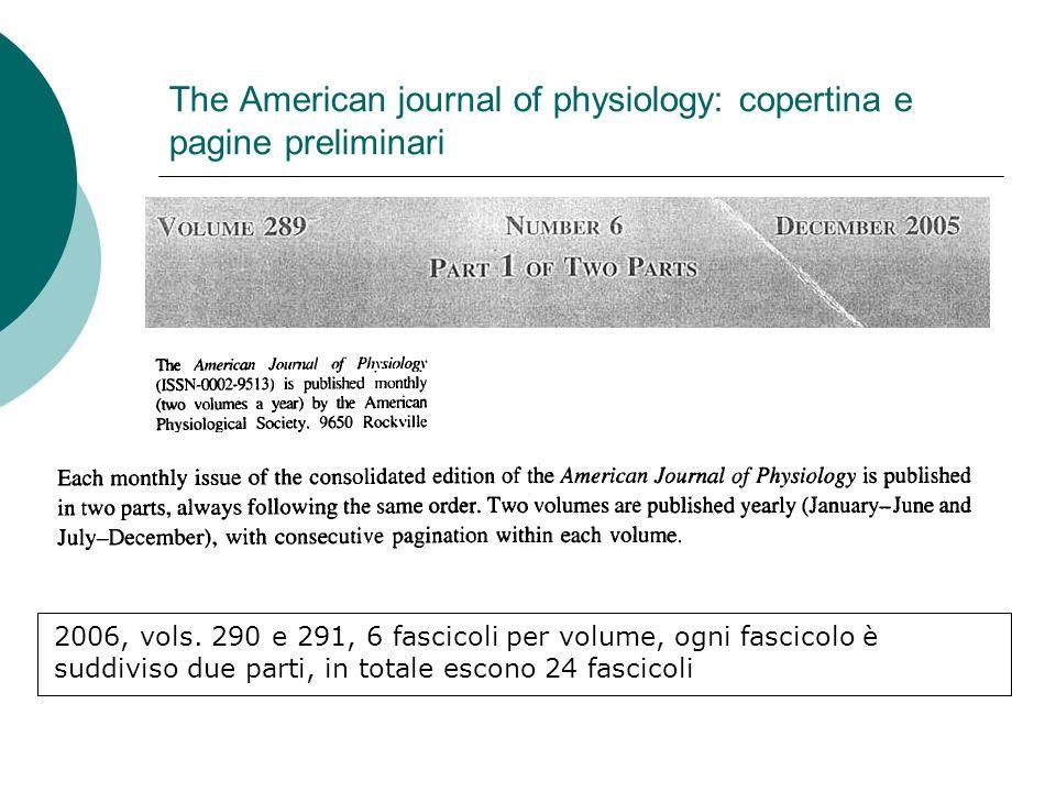 The American journal of physiology: copertina e pagine preliminari 2006, vols.