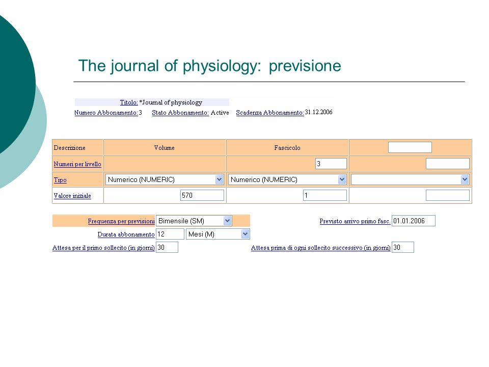 The journal of physiology: previsione