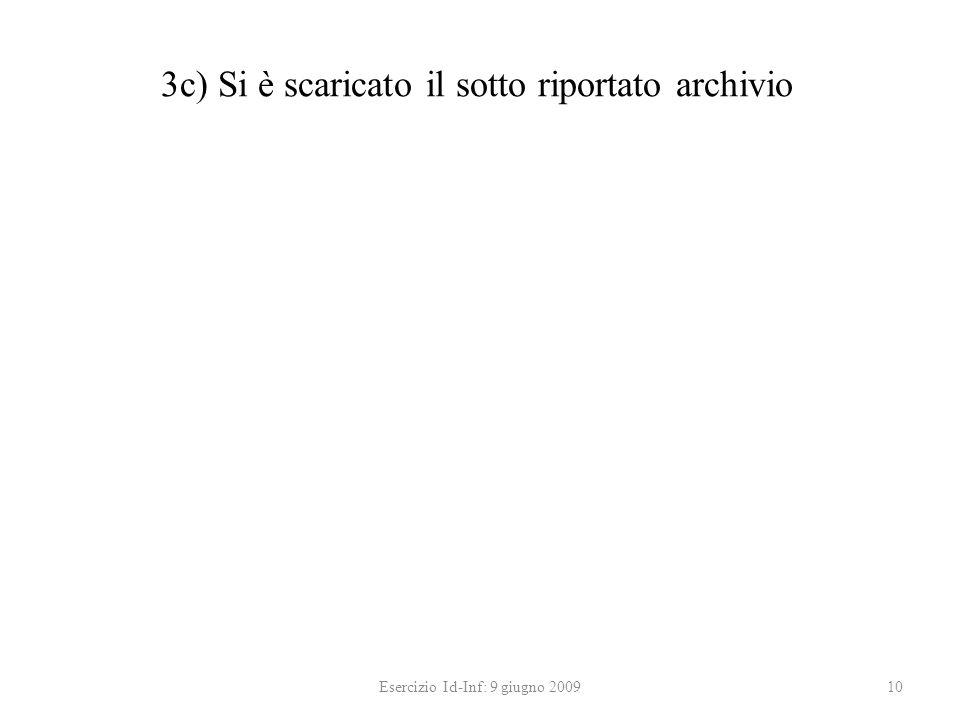 3c) Si è scaricato il sotto riportato archivio Esercizio Id-Inf: 9 giugno 200910
