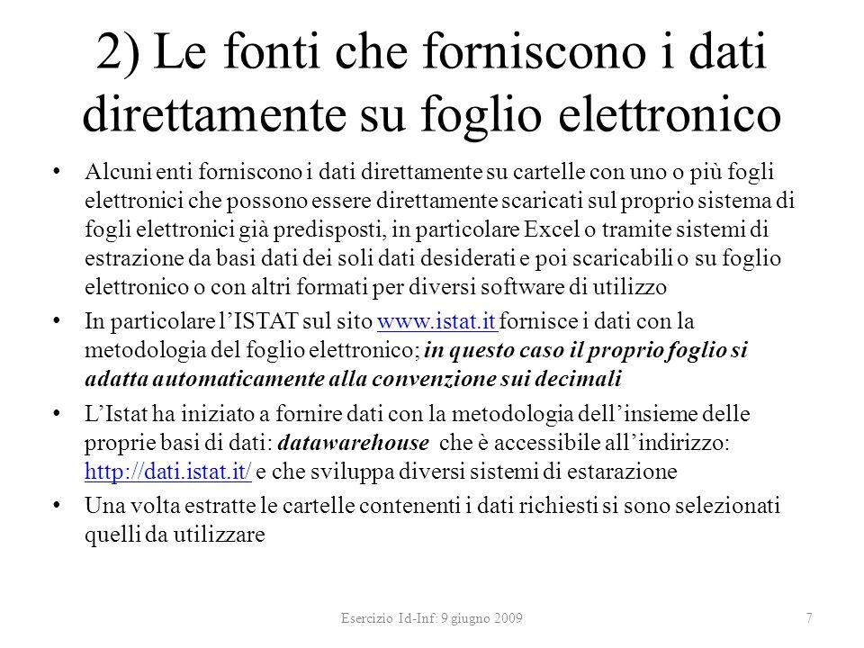 Commenti conclusivi sui grafici Esercizio Id-Inf: 9 giugno 200918