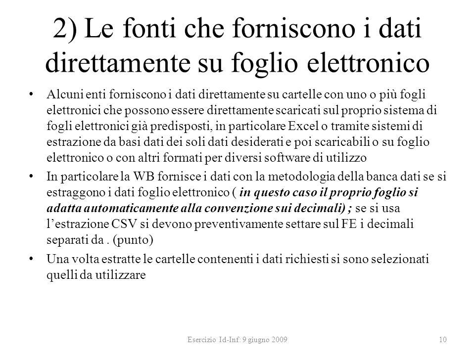 2) Le fonti che forniscono i dati direttamente su foglio elettronico Alcuni enti forniscono i dati direttamente su cartelle con uno o più fogli elettr