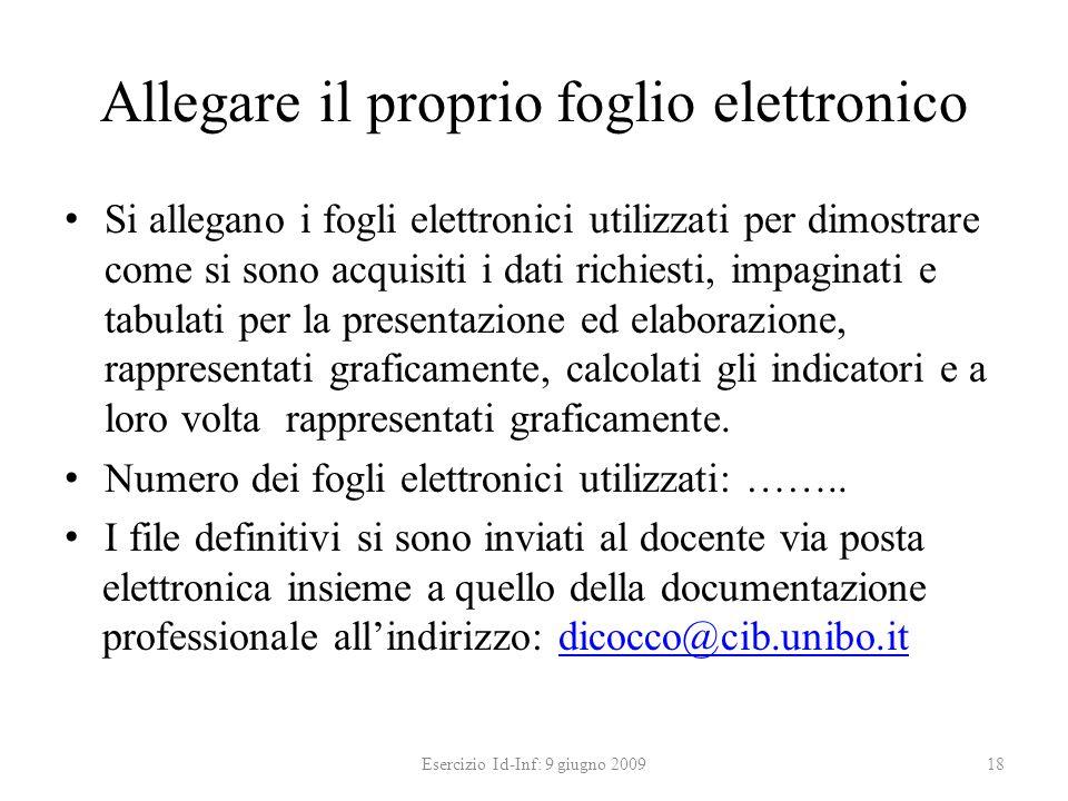 Allegare il proprio foglio elettronico Si allegano i fogli elettronici utilizzati per dimostrare come si sono acquisiti i dati richiesti, impaginati e